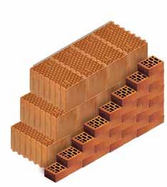 Кладка стены из керамических блоков KERAKAM 44 с лицевым кирпичом