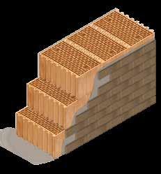 Кладка стены из керамических блоков KERAKAM 51 со штукатуркой и клинкерной плиткой